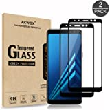 AKWOX [2 Pack] Tempered Glass Screen Protector for Samsung Galaxy A8 2018, [Anti-Bubble] [Scratch-resistant] Premium Screen Protective Film for Samsung Galaxy A8 2018 Black