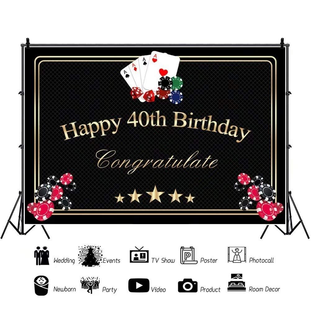 Cassisy 2,2x1,5m Vinilo Telon de Fondo Telón de Fondo del 40 cumpleaños Hombres Juegos de Las Vegas Vegas Party Decor Fondos para Fotografia bebé ...