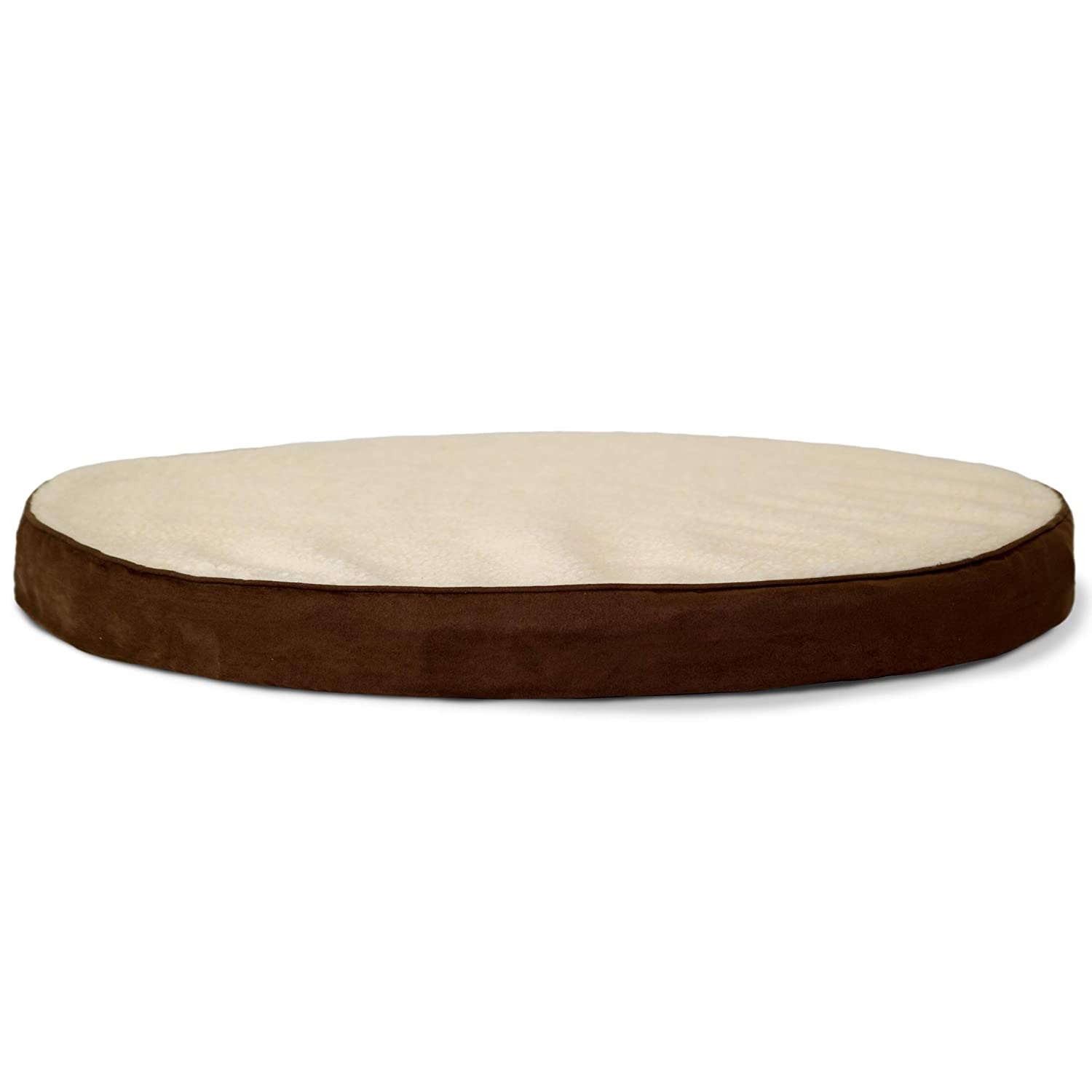 Furhaven Pet Dog Bed - Orthopedic Round Oval Faux Sheepskin Sherpa and Suede Foam Mattress Pet Bed with Removable Cover for Dogs and Cats, Espresso, Large