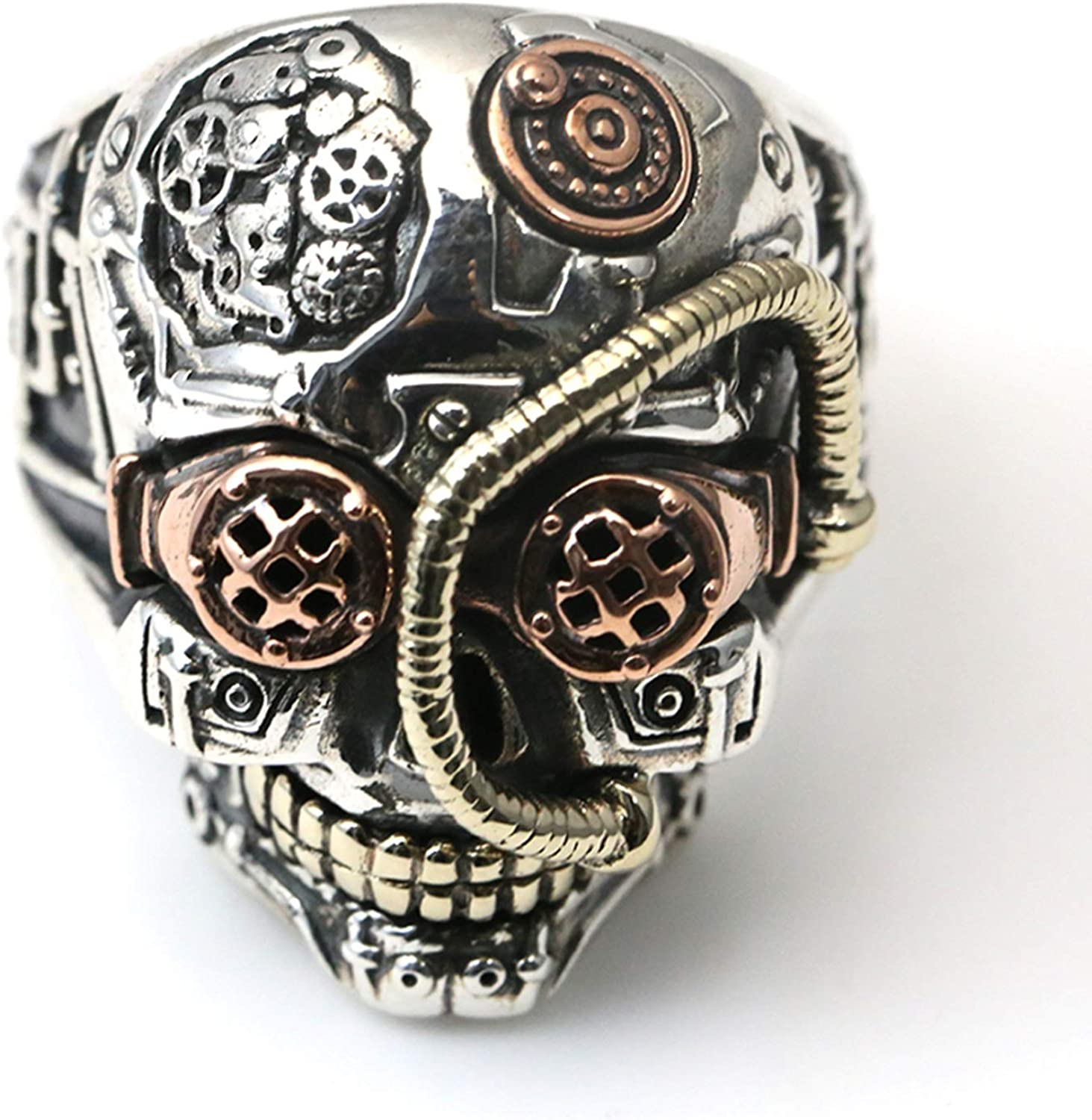Epinki 925 Sterling Silver Gothic Skull Ring for Men Retro Gothic Punk Style Jewelry