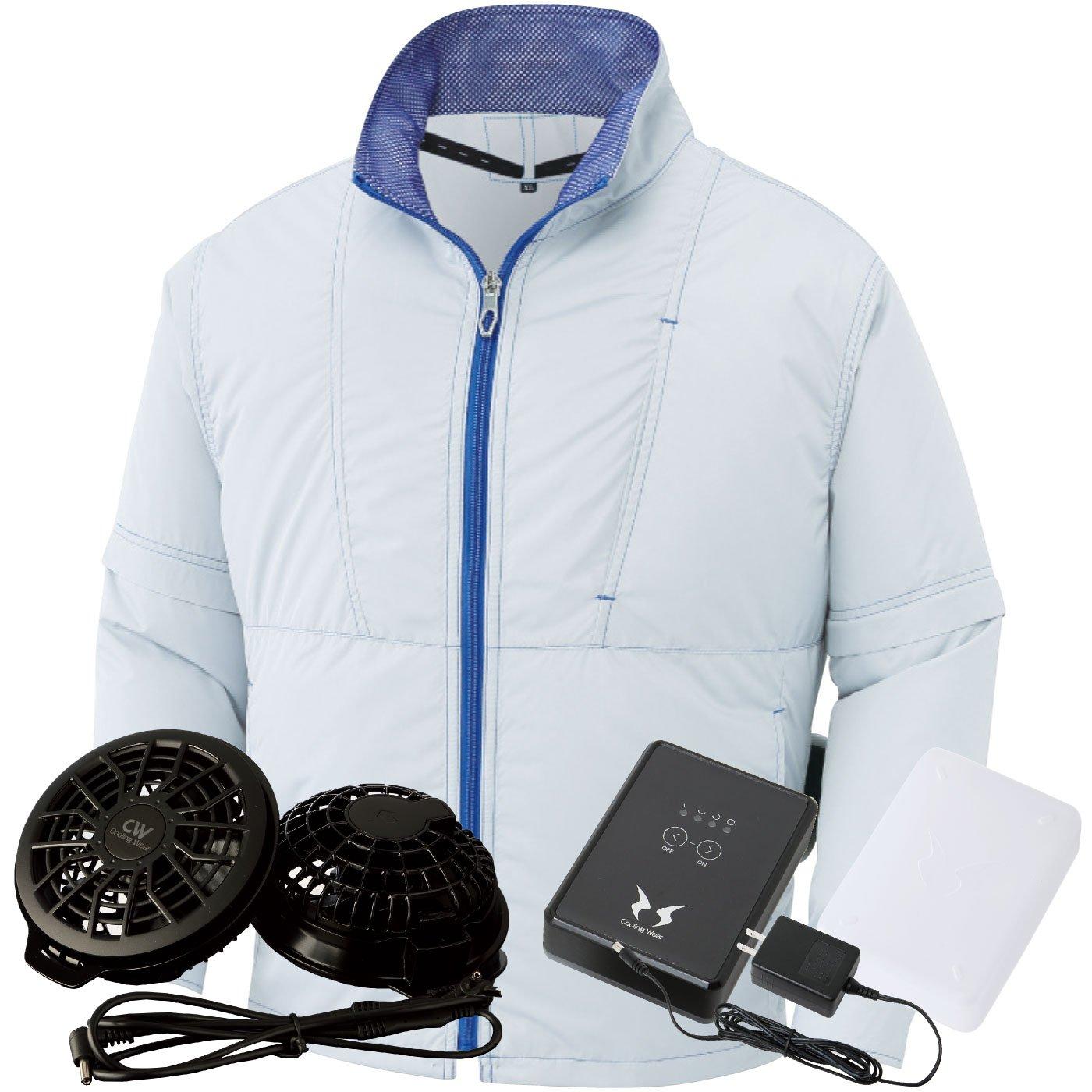 サンエス(SUN-S) 空調風神服 (空調服+ファンRD9820R+バッテリーRD9870J) ss-ku91620-l B07BSHF9M5 4L シルバー/ブラックファン シルバー/ブラックファン 4L