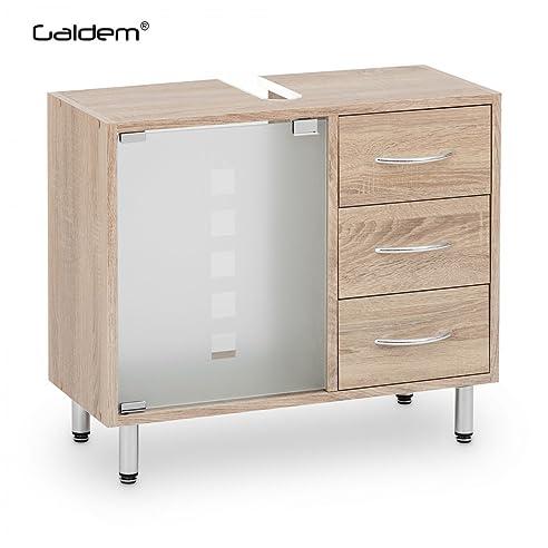 Amazon.de: Galdem Waschbeckenunterschrank mit 3 Schubladen Glastür ...   {Waschtisch mit unterschrank holz 97}