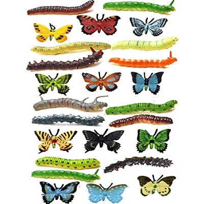 NiGHT LiONS TECH 24 pcs Insects Toy Set for Kids, Emulational Caterpillar and Butterfly Educational Toy Plastic Model Bugs Toy for Boys Girls Christmas Birthday Gift or Themed Party Supplies: Toys & Games