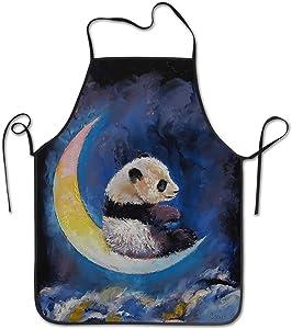 INTFULIHU Panda On The Moon Apron, Men and Women Moon Night Animal Oil Painting Kitchen Apron for Cooking Baking Crafting Gardening BBQ
