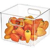 "iDesign Plastic Bin, Kitchen Storage Organizer for Refrigerator, Freezer and Pantry, 8"" x 8"" x 6"", BPA-Free, Medium, Clear"