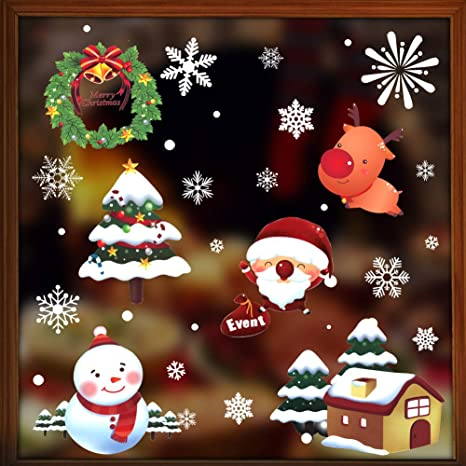 Snowflake Comet Christmas Window Clings with snow flakes in multiple sizes and shapes great border too Season/'s Greetings Little town