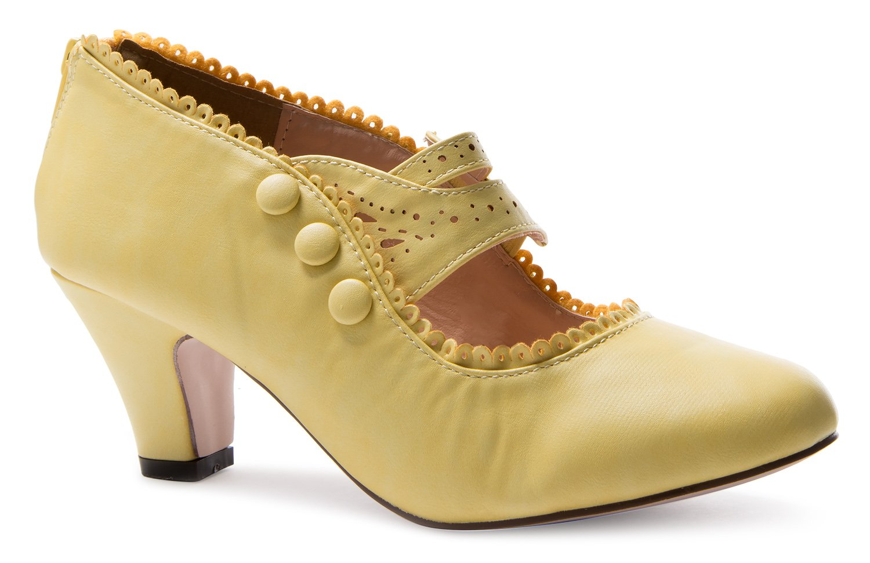Chase & Chloe Womens Mina4 Closed Toe Mary Jane High Heel Shoes,Yellow,8