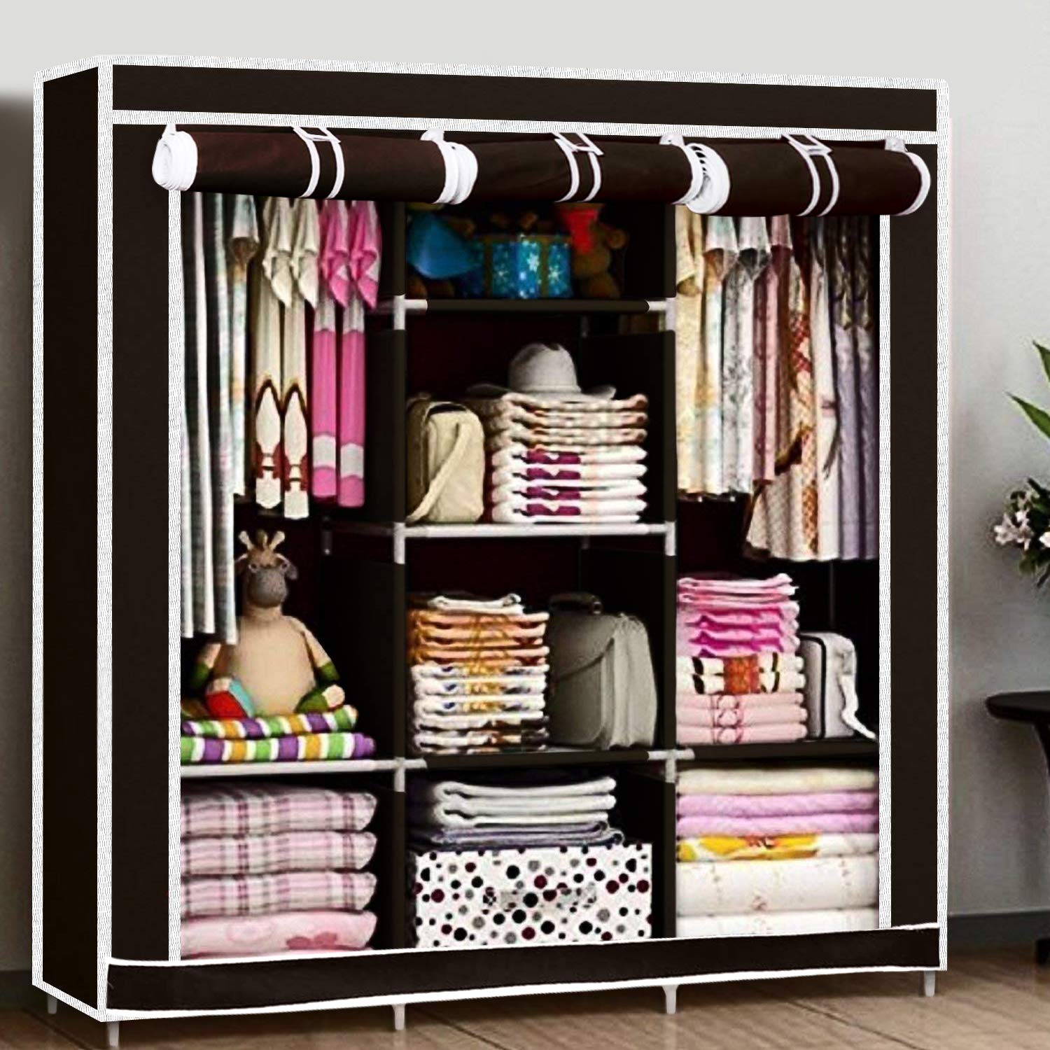 huge discount cbfc6 c2a91 Kurtzy Collapsible Clothes Storage Wardrobe Cupboard Closet with 6 Cabinet  and 2 Long Shelves Organizer Hanging Rail Rack Foldable Portable Canvas ...