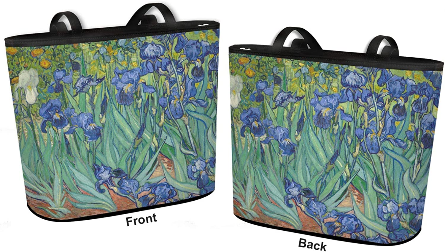 Van Gogh Large w//Front /& Back Design Irises Bucket Tote w//Genuine Leather Trim