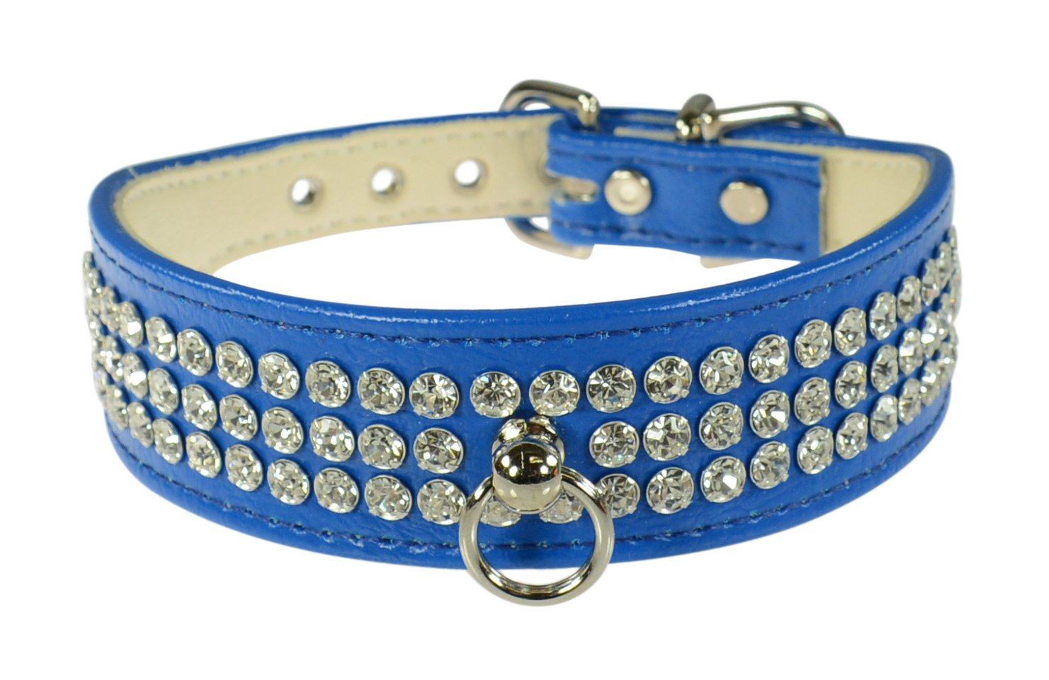 Evans Collars 1 1 8  Shaped Collar with 3 Row Jewels, Size 10, Vinyl, bluee