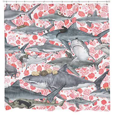 Cats Riding Sharks Fabric Shower Curtain Pirate Bathroom Decor Waterproof Mildew Resistant