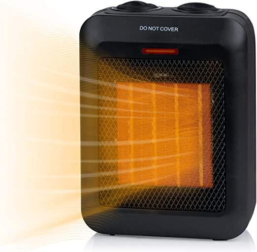 Minetom Ceramic Portable Space Heater Personal Electric Heater with Adjustable Thermostat 750W//1500W ETL Listed Quiet Heater with Overheat Protection Perfect for Home Office Kitchen Bedroom and Dorm