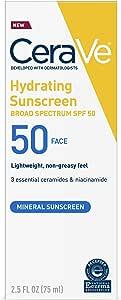 Cerave 100% Mineral Sunscreen SPF 50   Face Sunscreen with Zinc Oxide & Titanium Dioxide for Sensitive Skin   2.5 oz, 1 Pack