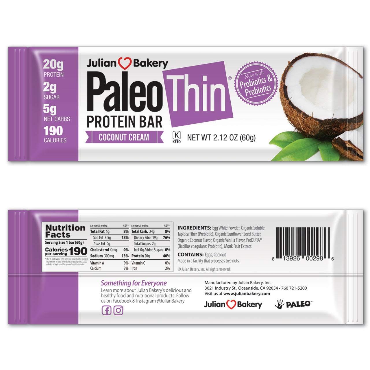 Paleo Protein Bar (Coconut Cream) 12 Bars (20g Egg White Protein) 5 Net Carbs (Organic Prebiotics / Probiotics) by Julian Bakery