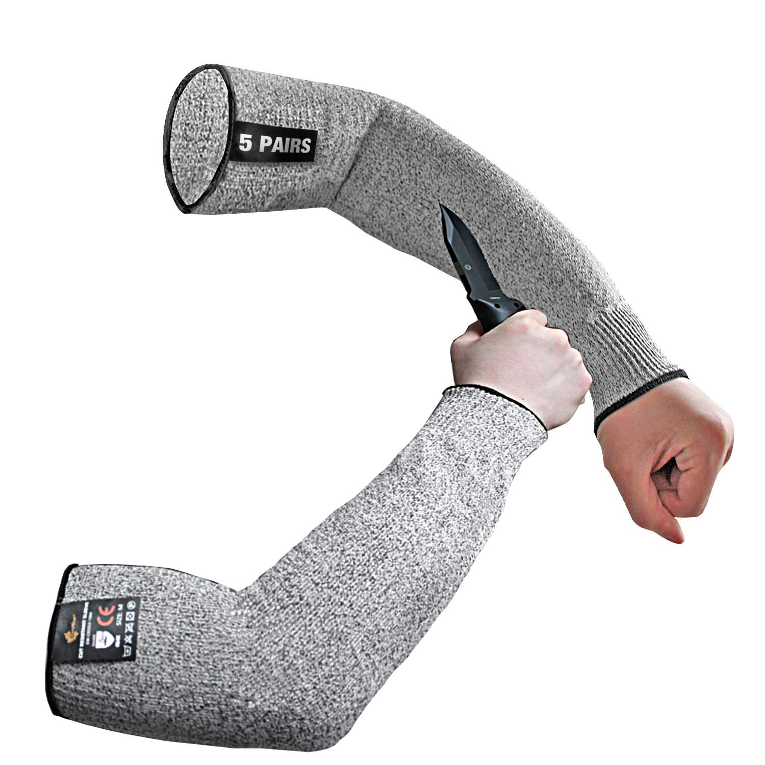 Evridwear 1 Pr/Pack Cut Resistant Sleeves for Arm Safety in Level 5,Arm Sleeves (5 Pairs L size, Gray No Thumb Hole)