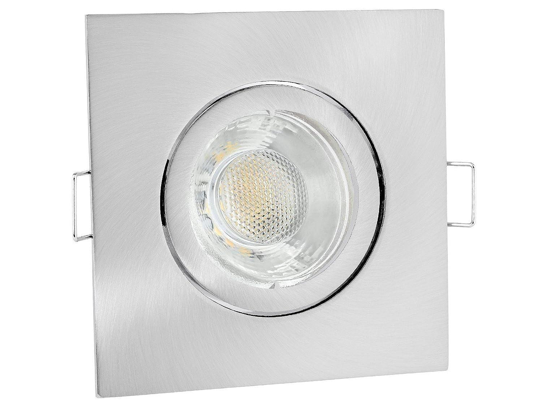 10 Stück linovum® LED Einbaustrahler Set warmweiß eckig weiß schwankbar für 230V Einbauleuchte mit 6W GU10 Lampe warmweiß 2700K inkl. Fassung ohne Trafo [Energieklasse A+]