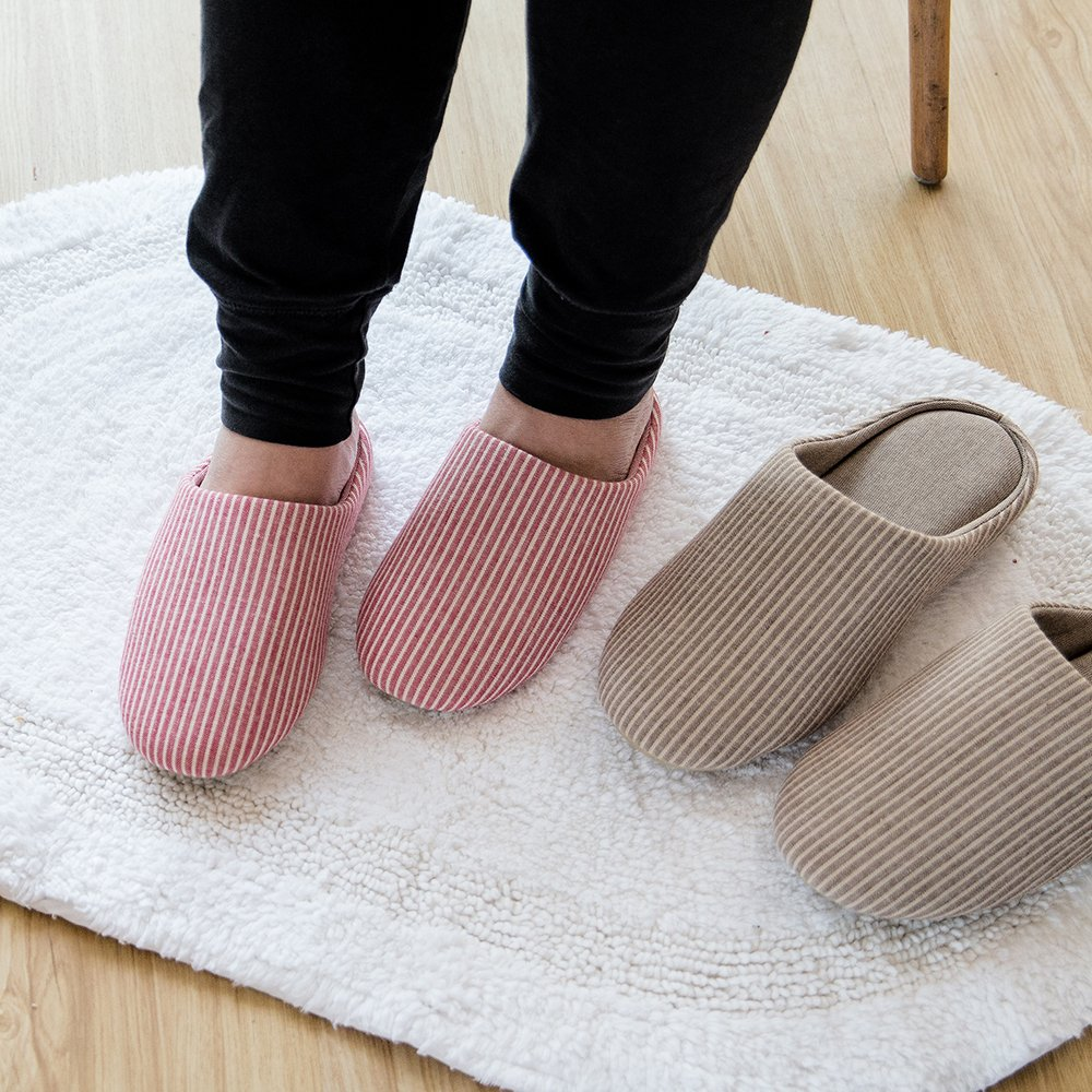 mianshe Womens Classic Striped Memory Foam House Slippers Cotton Knitted Anti-Slip Indoor Men Shoes