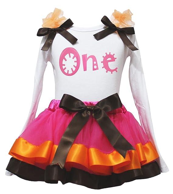 Cumpleaños Vestido One blanco L/S Shirt Rosa Recortar pétalos Falda Chica Set 1 - 8Y: Amazon.es: Ropa y accesorios