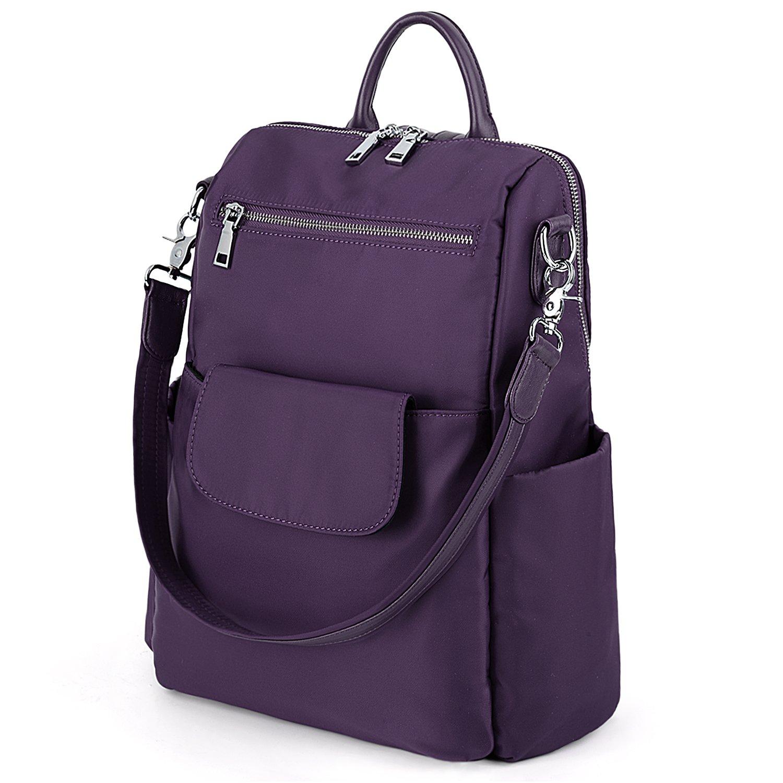 UTO Women Backpack Purse 3 ways Oxford Waterproof Cloth Nylon Ladies Rucksack Shoulder Bag A Purple by UTO