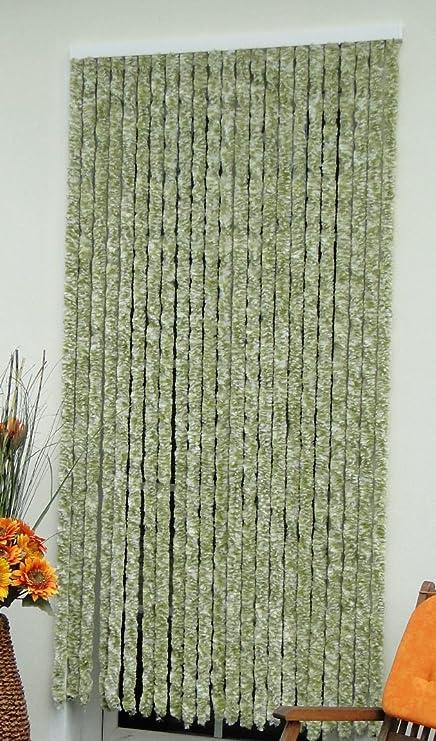 Tende Da Esterno In Ciniglia.Tenda Per Porta In Ciniglia 115 X 230 Cm Colore Verde Oliva Bianco