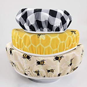 Bee Bowl Covers Fabric Washable Food Baking Bread Fruit Mixer Bowl Caps Spring Summer Housewarming Gifts Kitchen Tool Accessory, 3 PCS