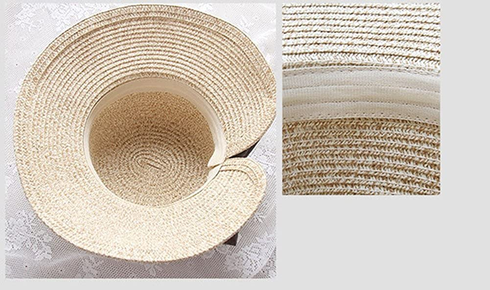 4URNEED 2 Piece Parent-Child Hats Panama Hat Fedoras Hats Beach Sun Hat Wide Brim