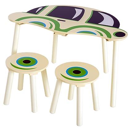 Homcom Conjunto Mesa y 2 Sillas Infantil Juego de Muebles Madera Diseño de Coche Escritorio Mesa para Jugar Dibujar Leer 76.5x58.5x46cm