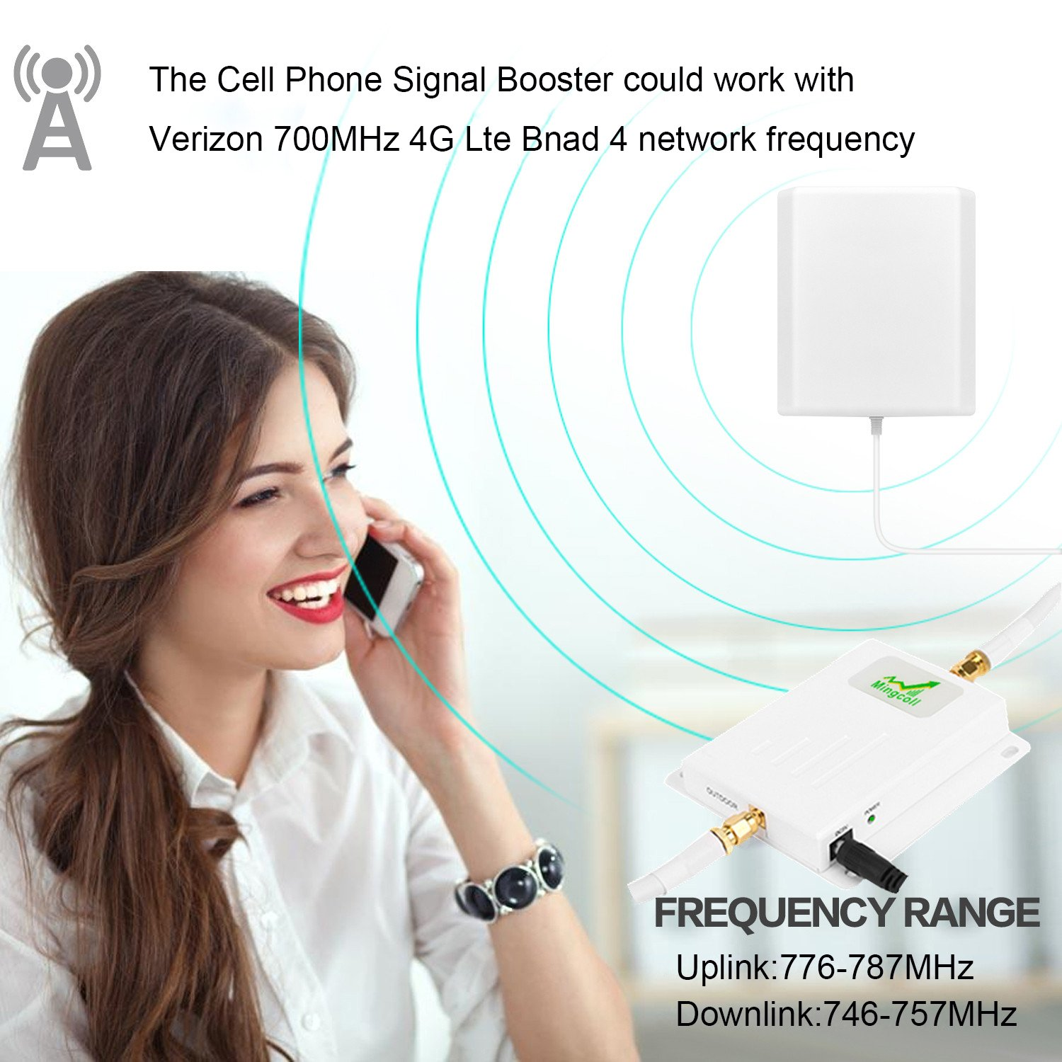 Verizon 4G Signal Booster LTE Cell Phone Repeater Band 13 Verizon 700MHz FDD with Panel Antenna Kit (White Cable) by Mingcoll (Image #5)