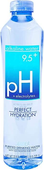 Perfect Hydration Alkaline Electrolyte Enhanced Water, pH 9.5+, 33.8 Fl. Oz (Pack of 12)