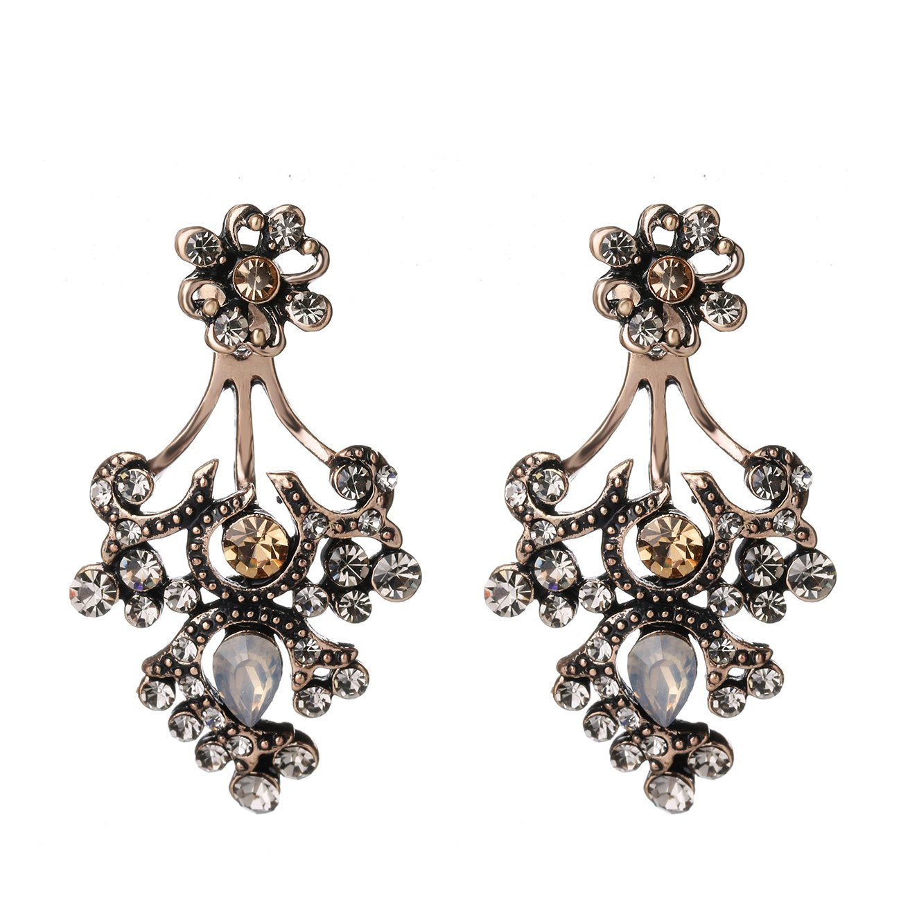 She Lian Vintage Fashion Front Back Rhinestone Stud and Ear Jacket Earrings for Women Mismatch Style (Antique Gold Tone)