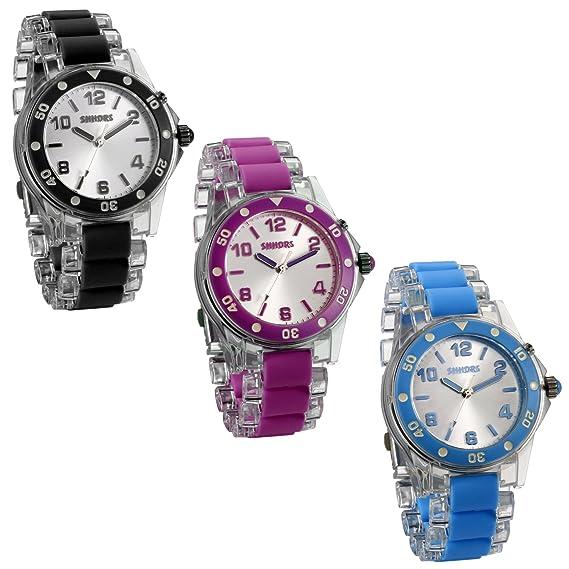 JewelryWe 3pcs Relojes de Colores Que Brilla Original Reloj Transparente para Hombre Mujer, Reloj de Verano Cuarzo con Luces, Buen Regalo 2017: Amazon.es: ...