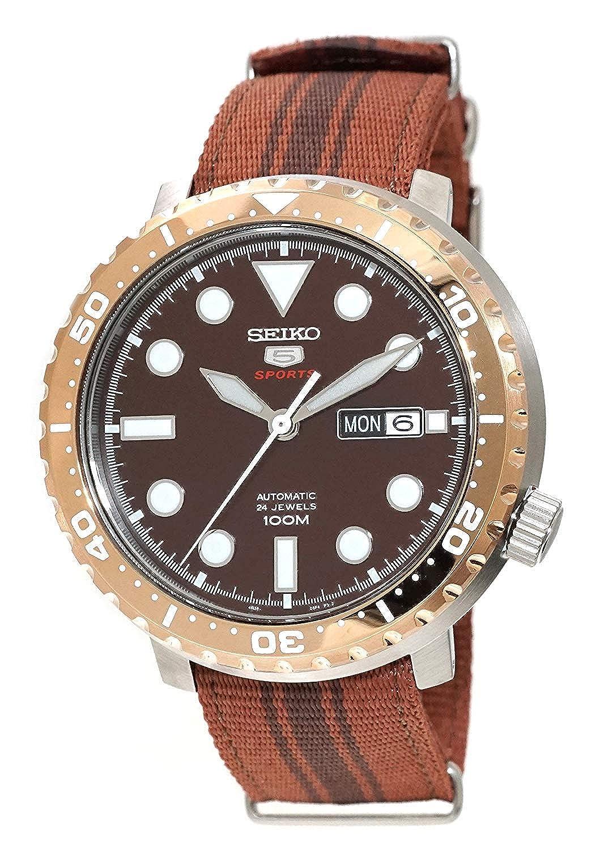 6b54ac2f9 Amazon.com: Seiko 5 'Bottle Cap' Sports 100m Automatic Root Beer Rose Gold  Bezel Nylon Watch SRPC68K1: Watches
