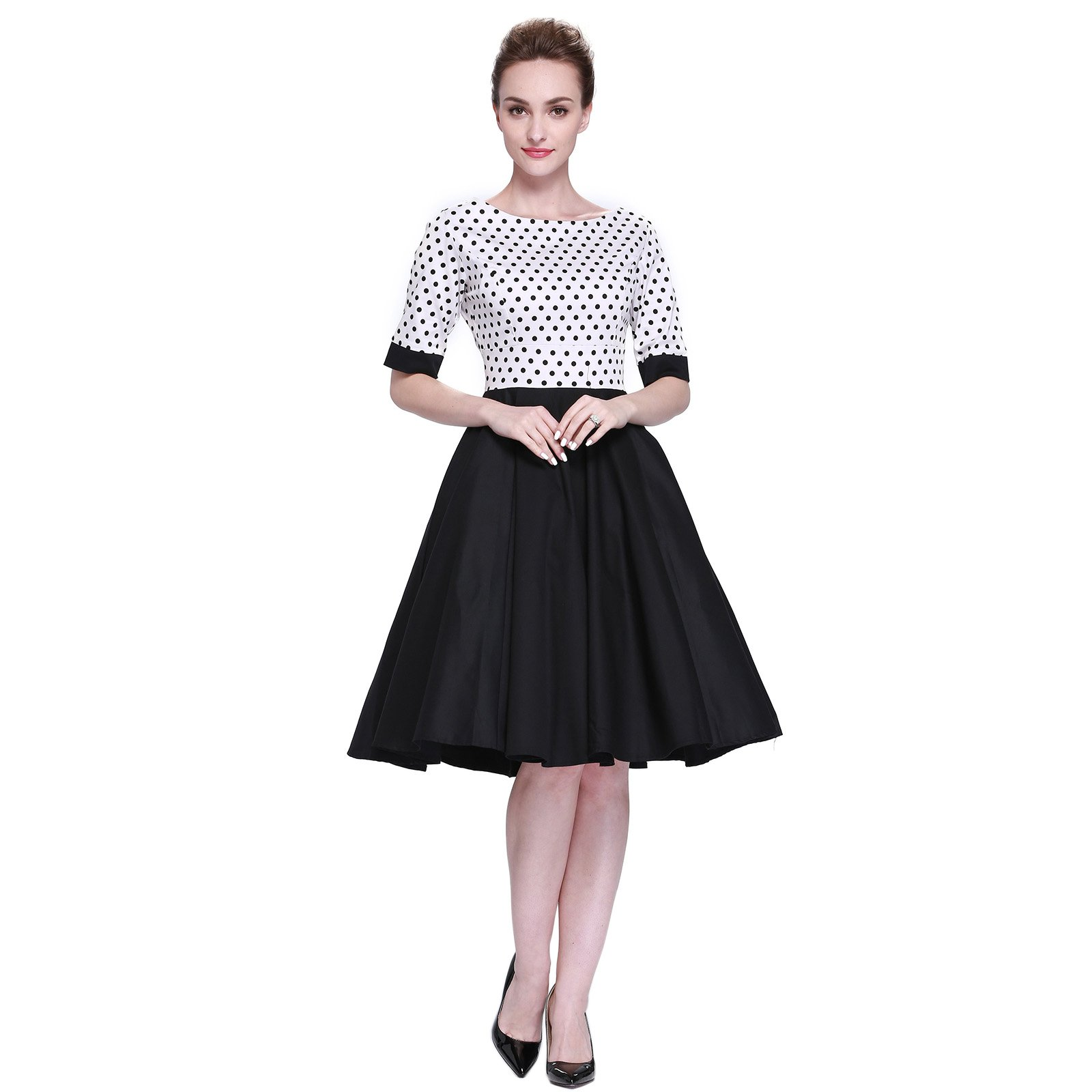 Heroecol Vintage 1950s 50s Dress Style Retro Rockabiily Cocktail M WBDBK