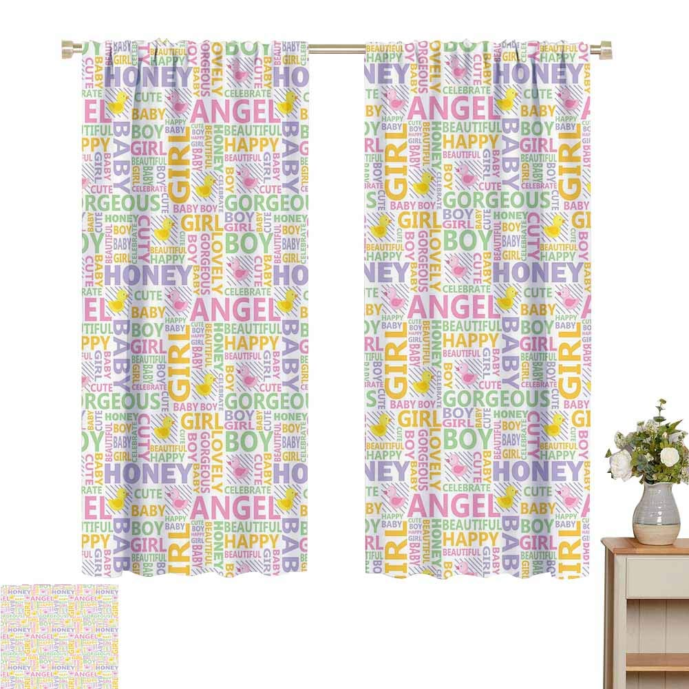 """2020 Gardome Curtains for Living Room Baby,Typography Pattern Language of Parents Newborn Boy and Girl Rubber Duck Diagonal Lines,Multicolor,Darkening and Thermal Insulating Drapes 52"""" W x 63"""" L"""