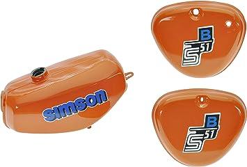 Tank Set Mit Seitendeckel S51 S70 Perlorange Versiegelt Mit Aufkleber Simson Auto