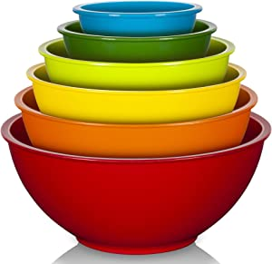 YIHONG 6 Pcs Plastic Mixing Bowls Set, Colorful Mixing Bowls for Kitchen, Ideal for Baking, Prepping, Cooking and Serving Food, Nesting Bowls for Space Saving Storage