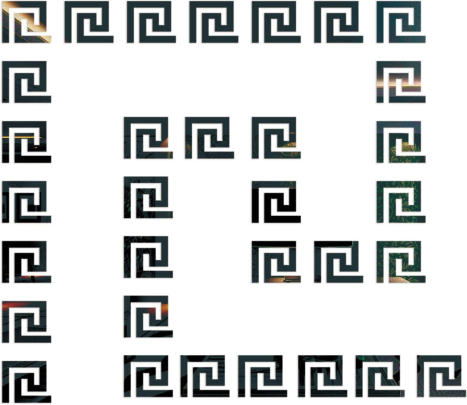 30 Pieces Black Acrylic Mirror Stickers Tiles Self Adhesive 3D Geometric Greek Key Pattern for Wall Decor Living Room Bedroom Bathroom Home Decals…