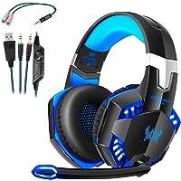 Cuffie da Gioco G2000 Gaming con LED PC Stereo MP3 con Microfono Compatibile con XBOX ONES Smartphone Regolatore Volume Insonorizzato Blu e Nero (G2000)