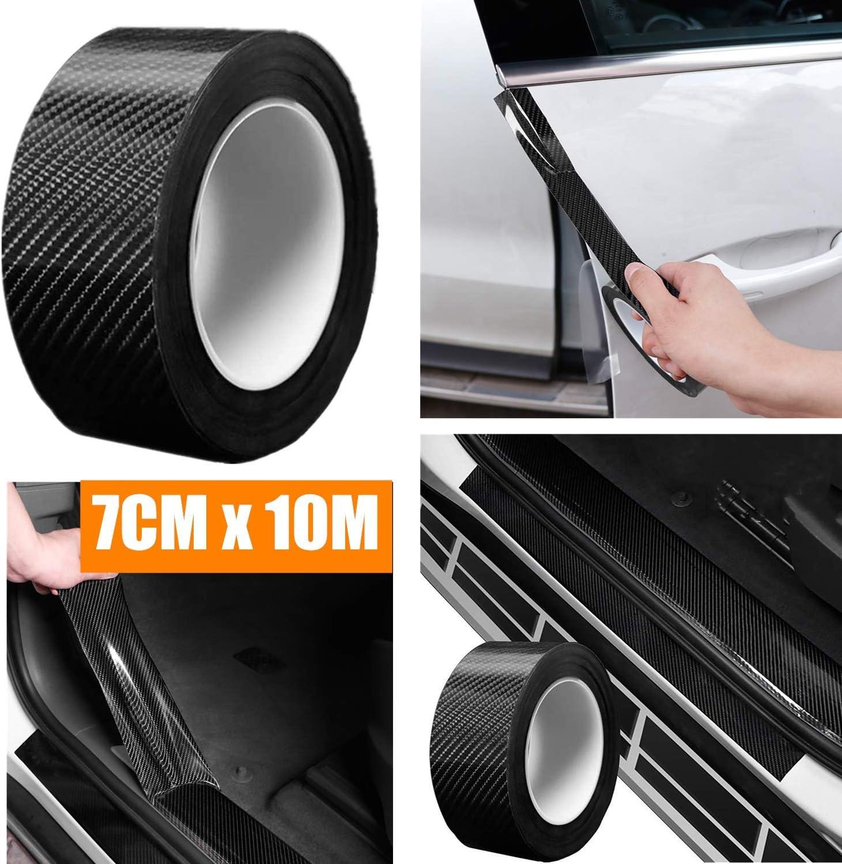 Auto Einstiegsleisten Kohlefaser Aufkleber Universal 10m Autoaufkleber Stoßstange Spoiler Kantenschutz Sticker 7cm X 10m Auto
