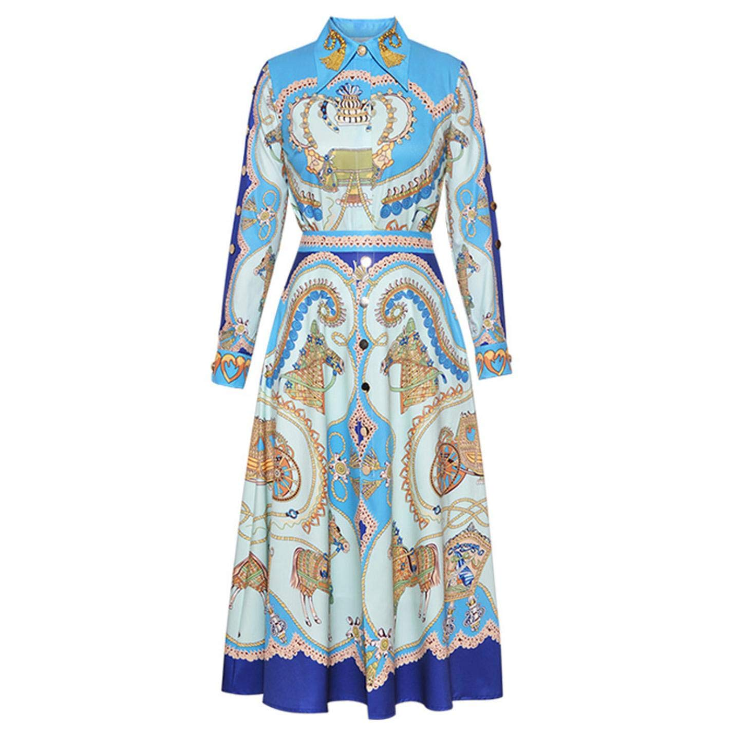 Womens Beaded Turn-Down Long Sleeve Vintage Shirts + A Line Skirt Suit
