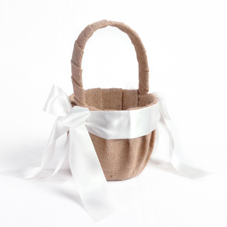 Elegant Linen White Ribbon Wedding Flower Girl Basket