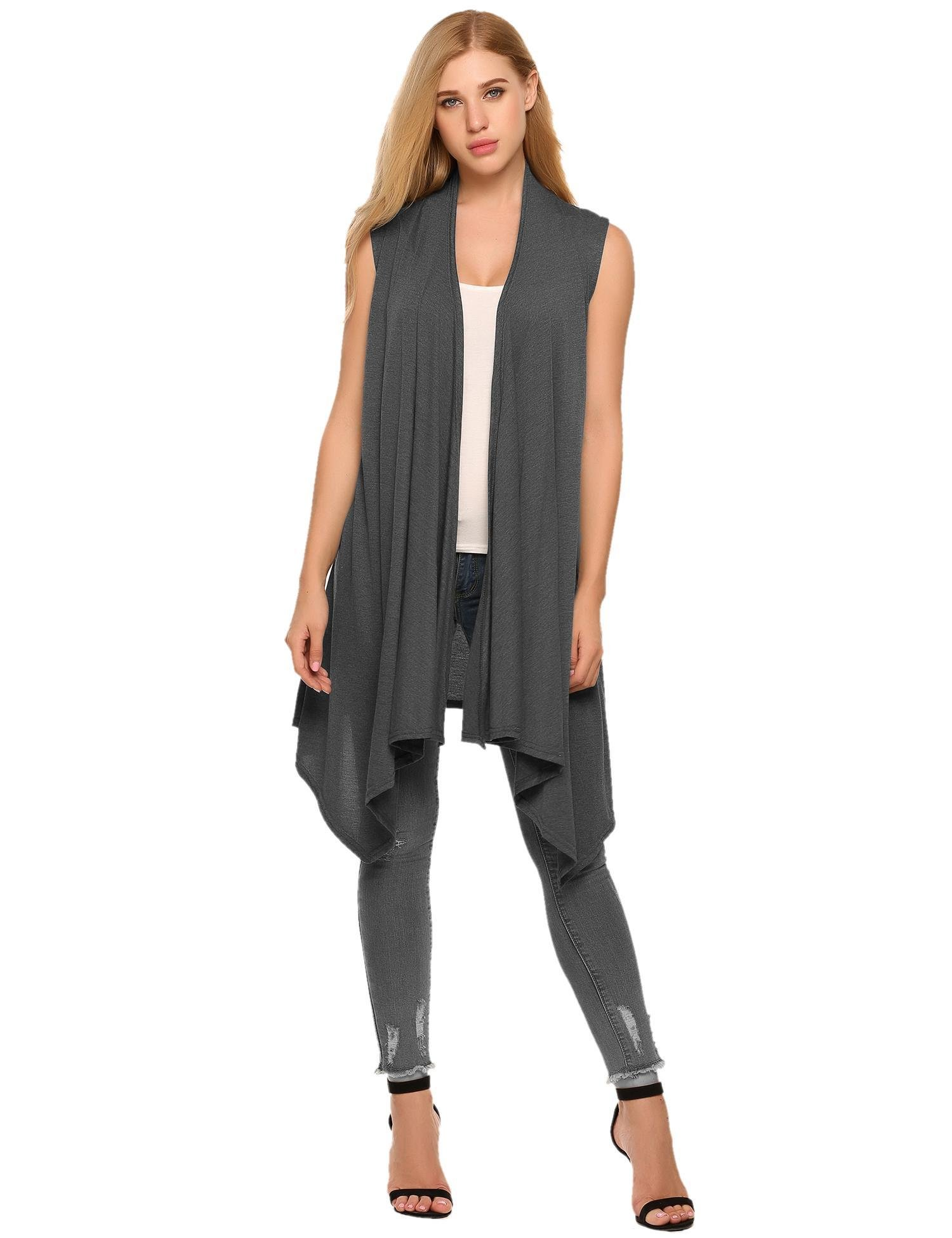 Bifast Women's Solid Color Sleeveless Asymetric Hem Open Front Cardigan Vest Lightweight Cardigan