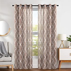 "jinchan Linen Curtains Flax Linen Blend Textured Curtain Moroccan Tile Print Window Curtain Drapes Set for Living Room Lattice Quatrefoil 50"" W x 84"" L Taupe Set of 2 Panels"