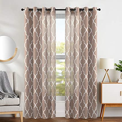 jinchan Linen Curtains Flax Linen Blend Textured Curtain Moroccan Tile  Print Window Curtain Drapes Set for Living Room Lattice Quatrefoil 50\
