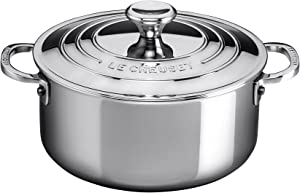 Le Creuset SSP3000-20 Tri-Ply Stainless Steel Shallow Casserole with Lid, 3 1/5-Quart