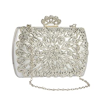 62674a3e76 Buy STRIPES Crown Style Evening Handbag Full Crystal Party Wear/Wedding  Purse Bridal Clutch Bag for Women/Girls Online at Low Prices in India -  Amazon.in