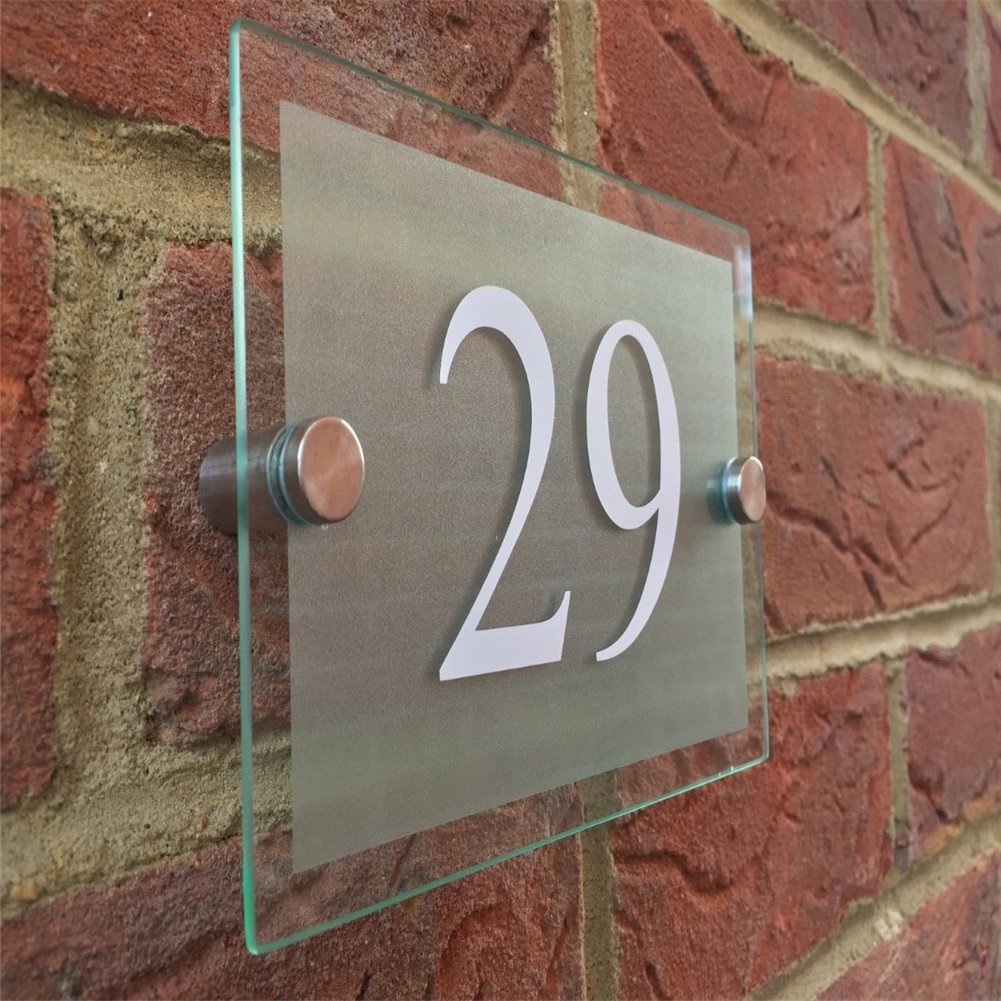 Fuli Modern House/Hotel Street Frosted Sign Plaque Door Number Glass Effect Acrylic (3.9''×5.5''×0.2'', White)
