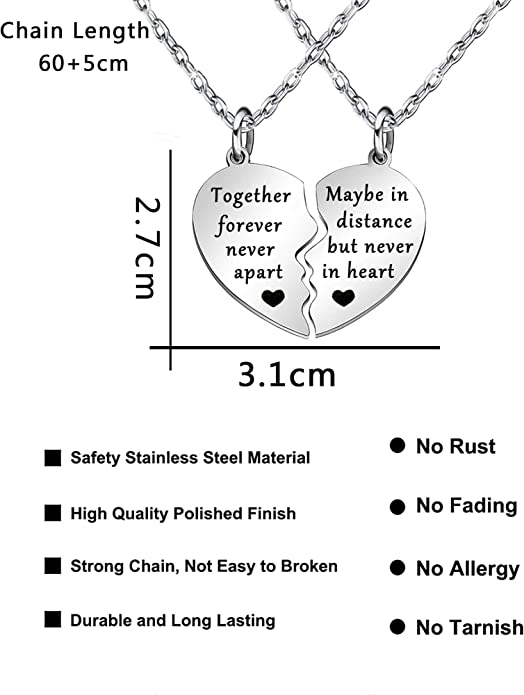 Friends forever never apart necklace for friends friendship daughter Miss you gifts mum family presents keep in touch love sister long distance relationship couples girlfriend hug