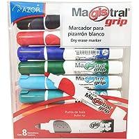 AZOR 301.8398 Magistral Grip, Marcador para pizarrón blanco, 8 piezas, Colores surtidos