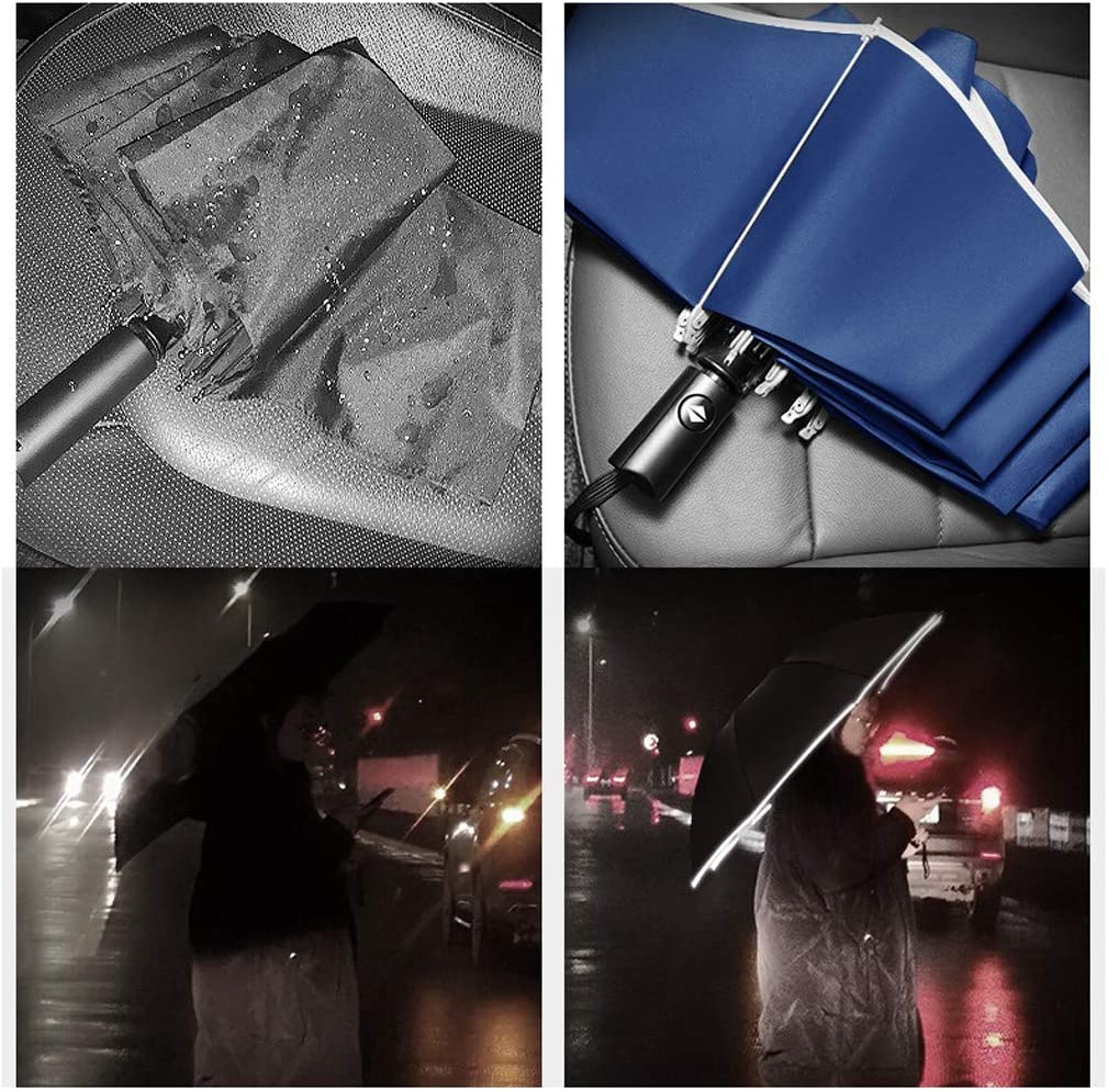 Details about  /Automatic Umbrella Reverse Folding Sun Rain Business Umbrella With Reflective